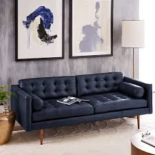 Navy Blue Leather Sofa Mid Century Leather Sofa 80 West Elm