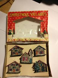 vintage christmas village ornaments houses with mica glitter in