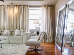 Mirror Curtain Living Room Curtain With White Carpet And White Sofa Also Large