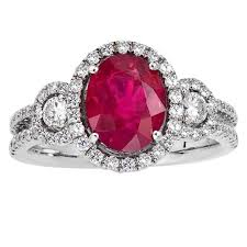 oval shaped engagement rings oval shape ruby diamond halo cocktail engagement ring for sale at