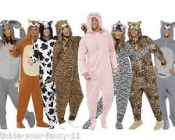 Zoo Animal Halloween Costumes Mens Womens Animal Jumpsuit Fancy Dress Costume Farm Jungle