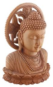 Home Decor Buddha Statue Wholesale Brown Lord Buddha Sculpture In Kadam Wood U2013 9 U201d Hand