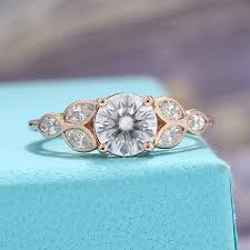 diamond rings vintage images Antique rose gold moissanite engagement ring vintage marquise jpg