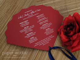 fan shaped wedding programs custom fan programs silver calligraphy custom paper works