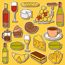 cartoon wine and cheese set of cartoon cute hand drawn stickers on french cuisine theme