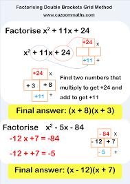factorising double brackets grid method math pinterest math