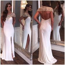 wedding dress with beading charming prom dress beading prom dress white chiffon prom dresses