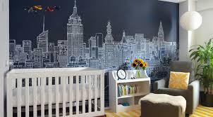 new york skyline vector wall mural wallpaper for kids bedroom