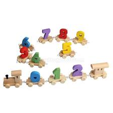 digital number wooden train figures railway kids wood mini toy