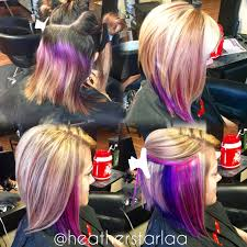 heavy blonde highlight with pink and purple peekaboos and an aline