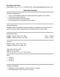List Of Job Descriptions For Resume by Sales Resume Retail Sales Associate Resume Samples Retail Sales