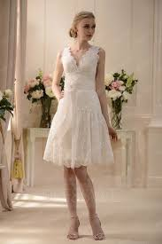 charmed v neck knee length sash lace wedding dress 10568567