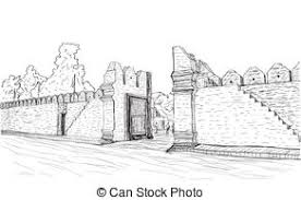 vector clip art of sketch of townscape in phnom penh slum wood