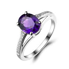 birthstone engagement rings leige jewelry amethyst ring oval cut purple gemstone