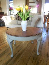 vintage shabby chic round coffee side table cabriole legs painted