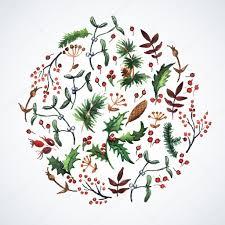 christmas plants circle made of christmas plants stock vector 55711921