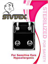 sensitive earrings studex cubic zirconia sterilized piercing earrings stainless steel