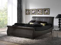 Black Leather Sleigh Bed Leather Sleigh Bed King Vine Dine King Bed Black