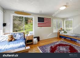 bright bedroom red bed open balcony stock photo 115839337