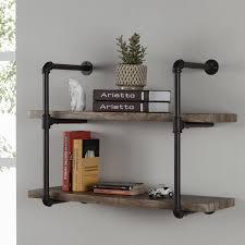 Industrial Pipe Bookcase 17 Stories Draven 2 Industrial Pipe Wall Shelf U0026 Reviews Wayfair