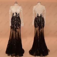black mermaid prom dresses long sleeves see through sparkle