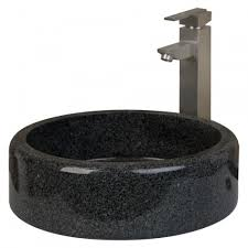 round polished granite vessel sink with flat bottom bathroom