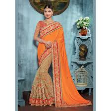 deep orange color saree sku no dfz4824 74914