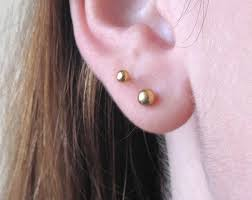 second earrings gold tiny earrings gold dot earrings second 4mm stud