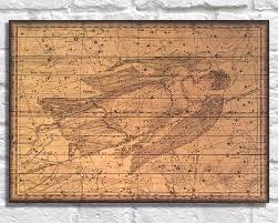 World Map Wood Wall Art by Virgo Zodiac Art Print Wood Art Wood Wall Art Decor Gift Star