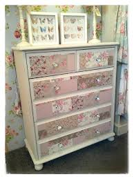 hand painted pine chest of drawers with decoupaged drawer fronts