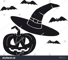 vector illustration carved pumpkin bats witch stock vector