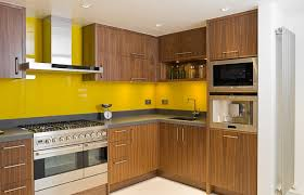 Cool Kitchen Backsplash L Shape Kitchen Design Ideas Using Yellow Tile Kitchen Backsplash