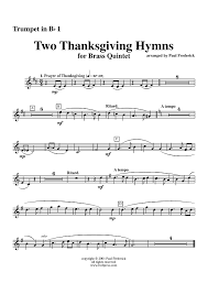 two thanksgiving hymns trumpet 1 sheet for piano and