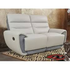 canapé 2 places relax cuir canapé 2 places relax cosmy en cuir et microfibre gris clair et