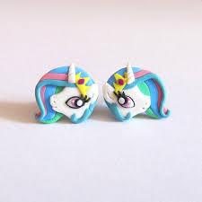 my pony earrings celestia earrings my pony earrings white unicorn earrings