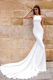 chic modern sheath wedding dress satin bateau neckline drop waist