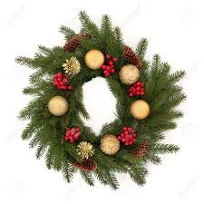 christmas wreath of pine fir with red holly berry clusters pine