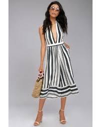 bargains on faithfull the brand felix navy blue striped midi jumpsuit