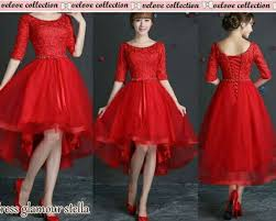 dress pesta gaun dress pesta brukat merah glamor cantik murah