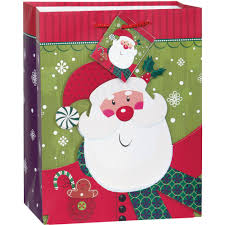 medium smiling santa christmas gift bag walmart com