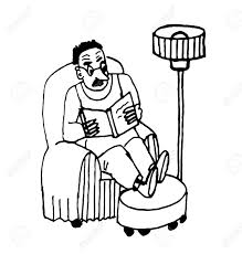 Livingroom Cartoon Man With Glasses In Shirt Sitting In A Chair In The Living Room