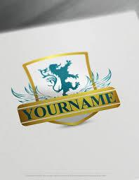 free logomaker lion shield logo template
