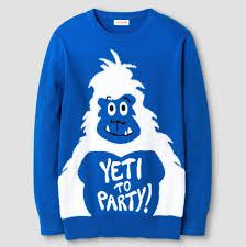 yeti to party ugly blue sweater ugly christmas sweaters for kids