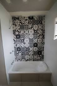 bathroom black white feature seq tiling and cladding