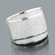 mens sterling rings images Sterling silver rings oversized mens diamond ring 1 18ct jpg