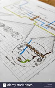 technical drawing of electrical ceiling rose wiring diagram stock