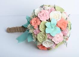 shabby chic flowers mint coral sola flower bridal bouquet shabby chic bouquet