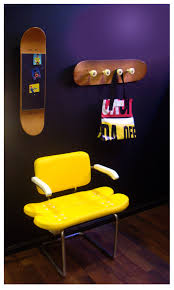 Skateboard Shelf Cool Yellow Chair Mirror And Coat Rack Furniture Design With