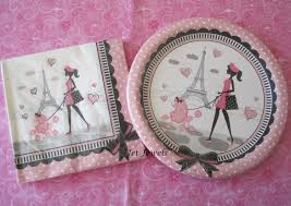 Eiffel Tower Party Decorations Paper Plates Paper Napkins Paris Theme Party Eiffel Tower