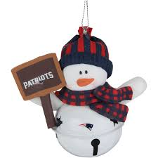 new patriots snowman bell with sign ornament nflshop